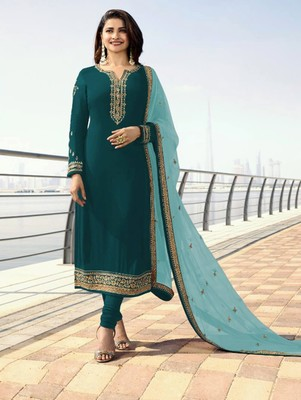 Peacock Green Silk Georgette with Embroidery Work Straight Suit
