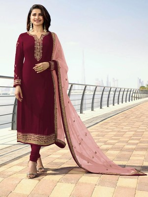 Maroon Silk Georgette with Embroidery Work Straight Suit