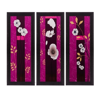 Set of 3 Floral Matt Textured UV Art Painting