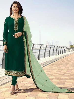 Dark Green  Silk Georgette with Embroidery Work Straight Suit