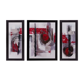 Set of 3 Abstract Matt Textured UV Art Painting