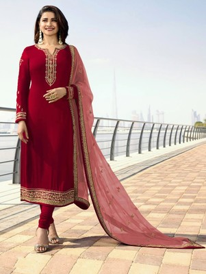 Red Silk Georgette with Embroidery Work Straight Suit