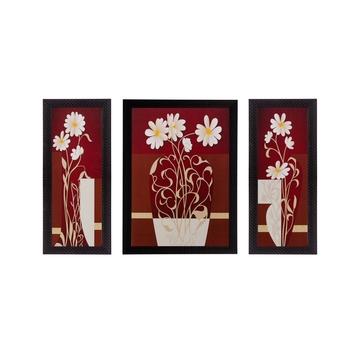 Set of 3 Floral Pot Matt Textured UV Art Painting