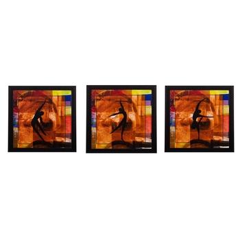 Set of 3 Dancing Girls Matt Textured UV Art Painting