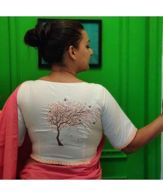 CHERRY BLOSSOM cotton blend blouse