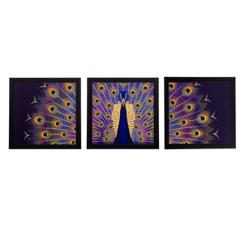 Set of 3 Peocock Feather Matt Textured UV Art Painting