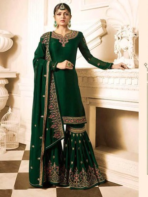 Dark Green Faux Georgette with Embroidery Work Sharara Suit