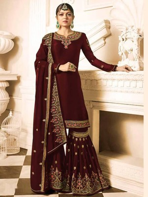 Dark Red Faux Georgette with Embroidery Work Sharara Suit