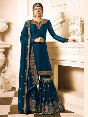 Navy Blue Faux Georgette with Embroidery Work Sharara Suit