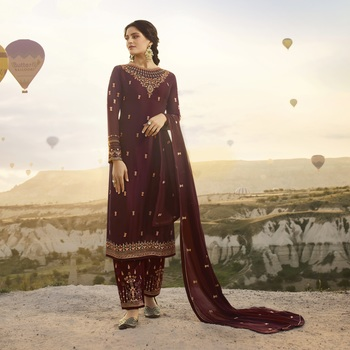 Wine embroidered satin salwar