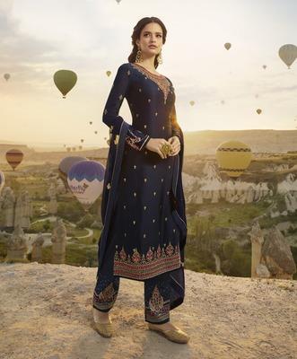 Dark-navy-blue embroidered satin salwar