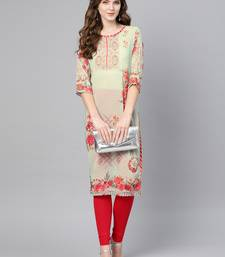 Green printed georgette kurtas-and-kurtis