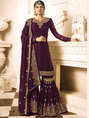 Purple Faux Georgette with Embroidery Work Sharara Suit