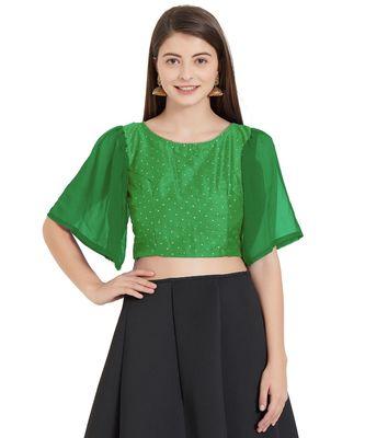 Leaf Green  Art Silk N Faux Georgette Art Silk Ready-Made Saree Blouse