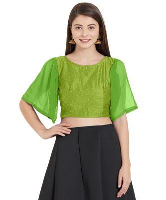 Parrot Green  Art Silk N Faux Georgette Art Silk Ready-Made Saree Blouse