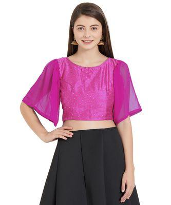 Pink  Art Silk N Faux Georgette Art Silk Ready-Made Saree Blouse