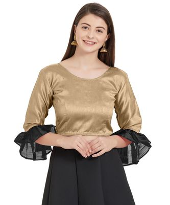 Beige N Black Art Silk Art Silk Ready-Made Saree Blouse