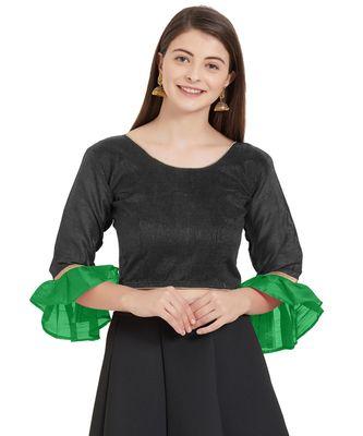 Black N Green Art Silk Art Silk Ready-Made Saree Blouse 2 Colours 3/4 Sleeves  Blouse