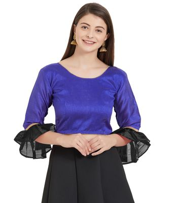 Royal Blue N Black Art Silk Art Silk Ready-Made Saree Blouse