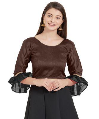 Brown N Black Art Silk Art Silk Ready-Made Saree Blouse 2 Colours 3/4 Sleeves Blouse