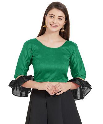 Dark Green N Black Art Silk Art Silk Ready-Made Saree Blouse 2 Colours 3/4 Sleeves  Blouse