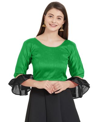 Leaf Green N Black Art Silk Art Silk Ready-Made Saree Blouse