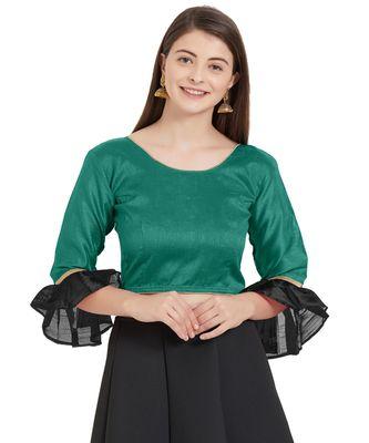Teal N Black Art Silk Art Silk Ready-Made Saree Blouse