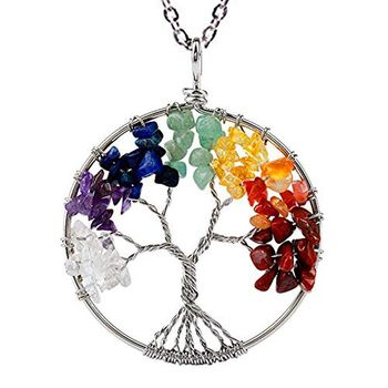 Tree of Life Natural 7 Chakra Reiki Heaing Crystal Stones Pendant Necklace Chain for Women Girls
