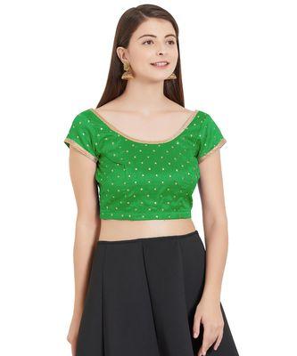 Leaf Green Art Silk Art Silk Ready-Made Saree Blouse