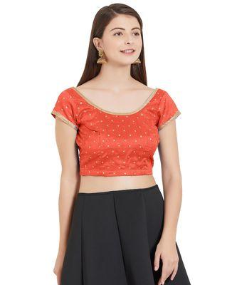 Orange Art Silk Art Silk Ready-Made Saree Blouse