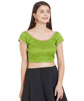 Parrot Green Art Silk Art Silk Ready-Made Saree Blouse