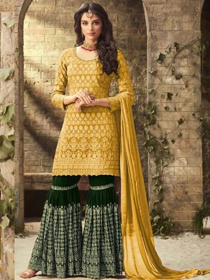 Yellow and Green Faux Georgette with Embroidery Work Sharara Suit