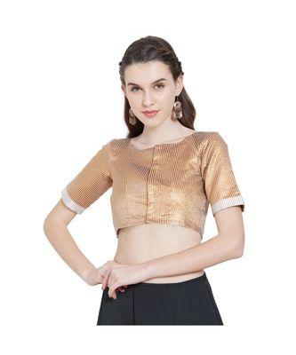 Gold N White Art Silk Ready-Made Saree Blouse