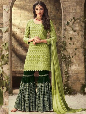 Light Green Faux Georgette with Embroidery Work Sharara Suit