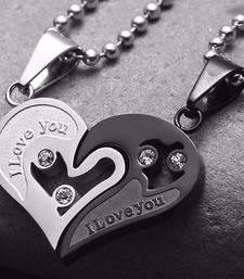 Couple Heart I Love You Black Silver 316L Surgical Stainless Steel Necklace Chain Pendant Pack of 2 Men Women Boys Girls