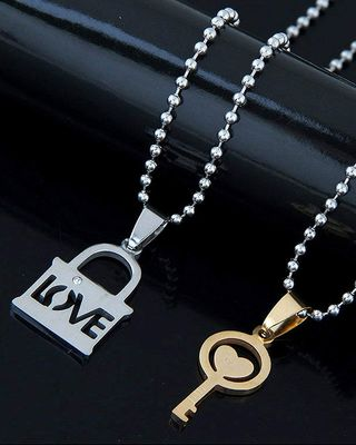 Couple Lovers I Love You Lock Key Gold Silver 316L Surgical Stainless Steel Necklace Chain Pendant Pack of 2 Men