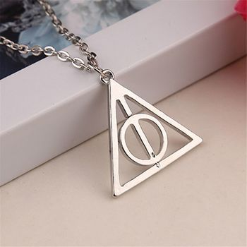 Harry Potter Time Turner Deathly Hallows Triangle Snitch Compass Stainless Steel Pendant Chain Necklace Men
