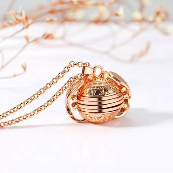 Expanding Angel Wings Photo Souvenier Gold Plated Locket Pendant Necklace Chain for Men