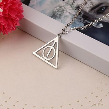 Harry Potter Rotatable Time Turner Deathly Hallows Triangle Snitch Compass Stainless Steel Pendant Chain Necklace Men