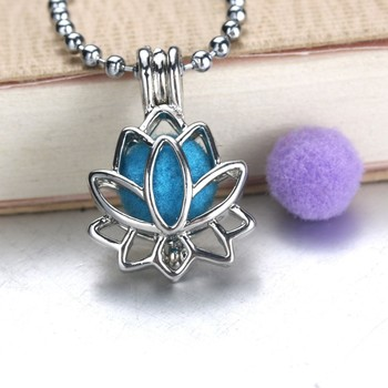 Lotus Flower Aromatherapy Essential Oil Perfume Diffuser Openable Hollow Cage Pendant Necklace Chain