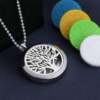 Tree of Life Aroma Therapy Essential Oil Perfume Diffuser 8 Refill Pads Locket Pendant Necklace Chain for Women Girls