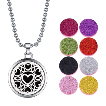 Love Heart Aroma Therapy Essential Oil Perfume Diffuser 8 Refill Pads Locket Pendant Necklace Chain for Women Girls