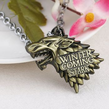 Game of Thrones Dire Wolf Head Stark Crest Bronze Pendant Necklace Chain for Men Boys Women Girls