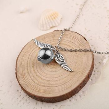 Harry Potter Hogwarts Wings of Silver Burglar Angel Quidditch Snitch Pendant Necklace Chain for Boys Girls