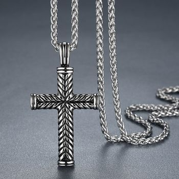 Cross Jesus Prayer Oxidised Vintage 316L Surgical Stainless Steel Pendant Necklace Chain for Men Women