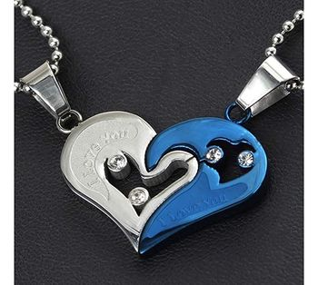 Couple Heart I Love You Blue Silver 316L Surgical Stainless Steel Necklace Chain Pendant Pack of 2 Men