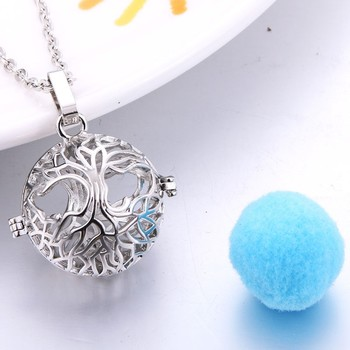Tree of Life Aromatherapy Essential Oil Perfume Diffuser Openable Hollow Cage Pendant Necklace Chain