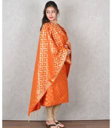 ORANGE BANARASI COTTON SILK SUIT