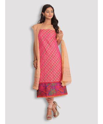 Pink Banarasi 2 Pc Suit with Chikankari