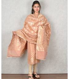 Peach Banarasi Cotton Silk Suit